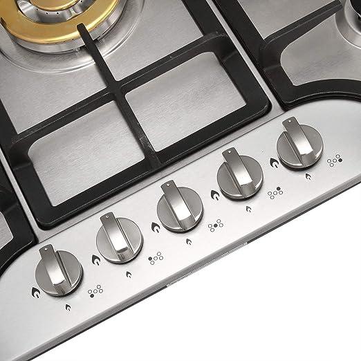 Amazon.com: metawell 30 inch 5 quemador integrado Acero ...
