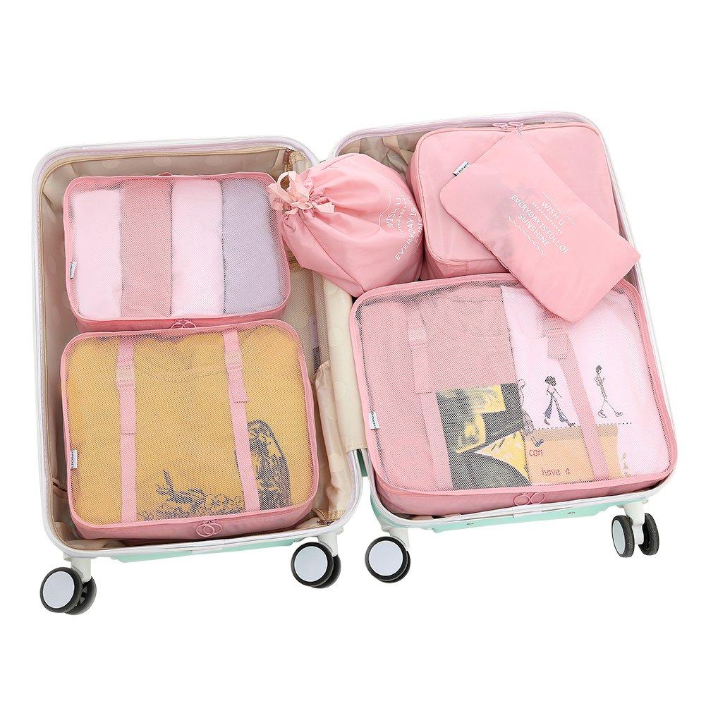 D-POCKET Storage Bags Organizer Cubes Travel Organizer Luggage Organizer Functional Clothing Cubes Travel Luggage Organizer Clothes Storage Bags (Pink)