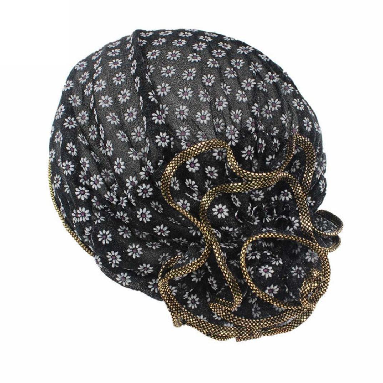 Mchoice Women Flower Cancer Chemo Hat Beanie Scarf Turban Head Wrap Cap (Black)