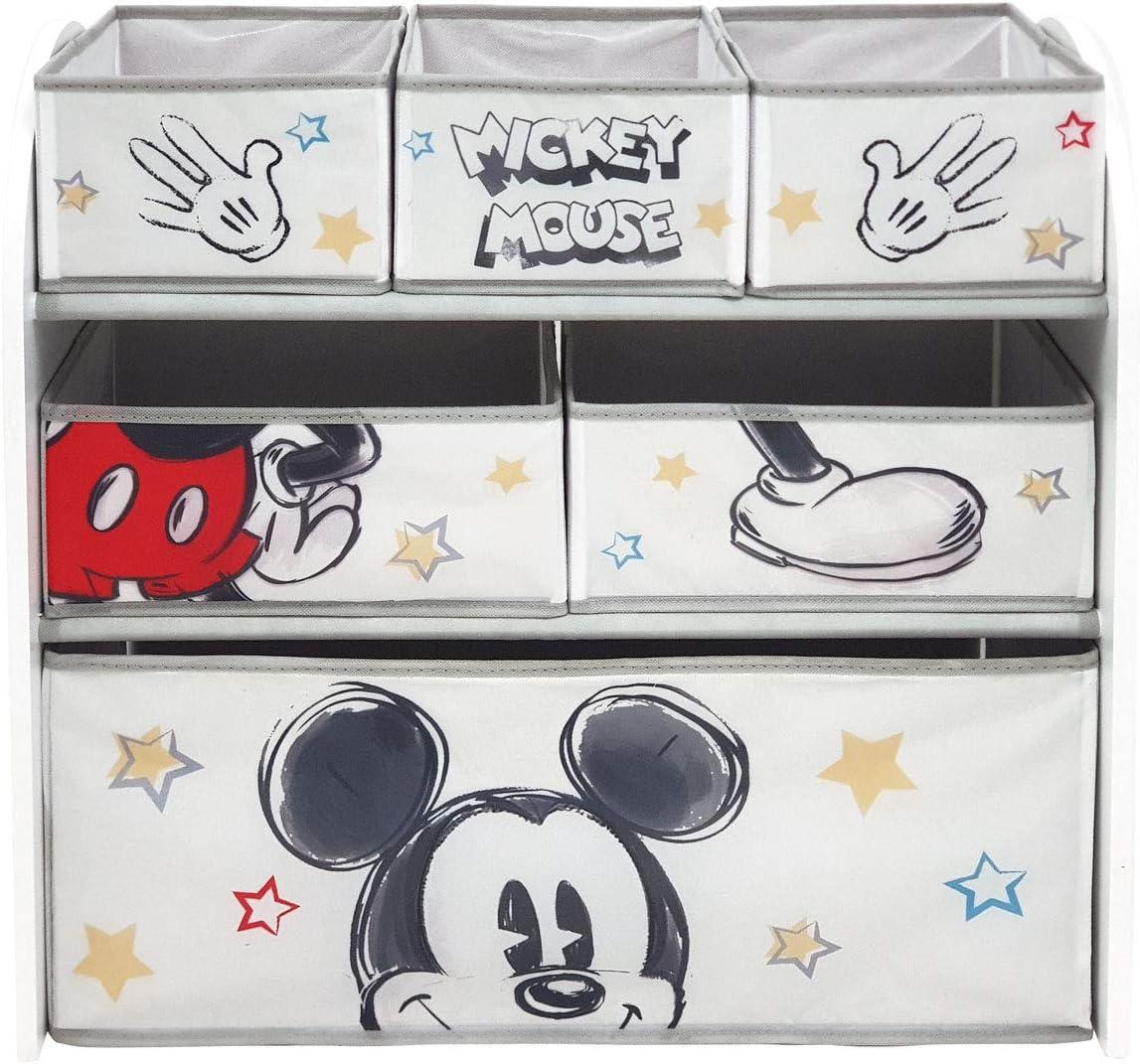 ARDITEX WD13694 Organizador de Madera (62x30x60cm) con 6 cestos Textiles de Almacenamiento de Disney-Mickey