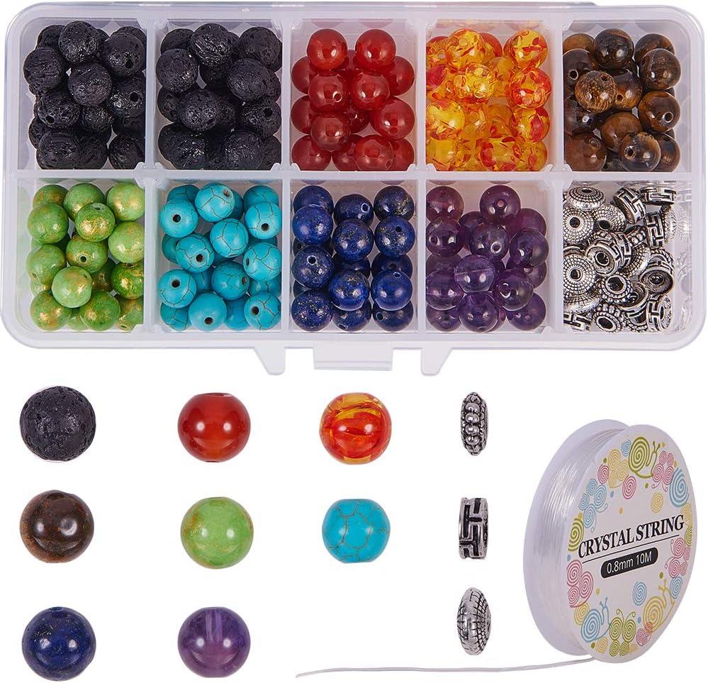 SUNNYCLUE 200 unids 8mm Natural 7 Chakra Lava Cuentas de Piedra Ronda Granos Sueltos Kit Spacer Beads con Cadenas de Cristal para la fabricación de Joyas de aceites Esenciales