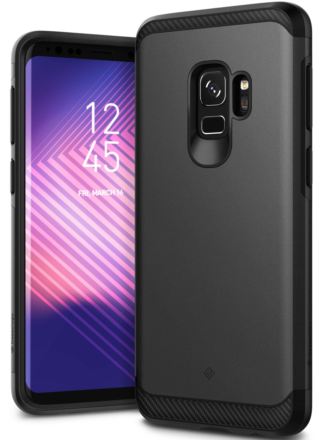 Caseology Galaxy S9 Case, [Legion Series] Slim Heavy Duty Protection Dual Layer Armor Cover Samsung Galaxy S9 (2018) - Black