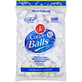DecorRack 100 Cotton Balls, 100% Pure Cotton for Nail Polish and Make-Up Removal, Applying Oil Lotion or Powder, Perfect for