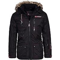 Geographical Norway Herren Winterjacke – Modell:Avoriaz– Mantel mit Fell Kapuze – Gefütterter Warmer Anorak - Outdoor Kapuzenjacke Winter Herbst