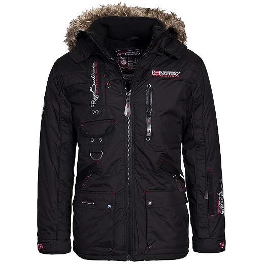Geographical Norway Herren Winterjacke – Modell:Avoriaz– Mantel mit Fell Kapuze – Gefütterter Warmer Anorak - Outdoor Kapuzen