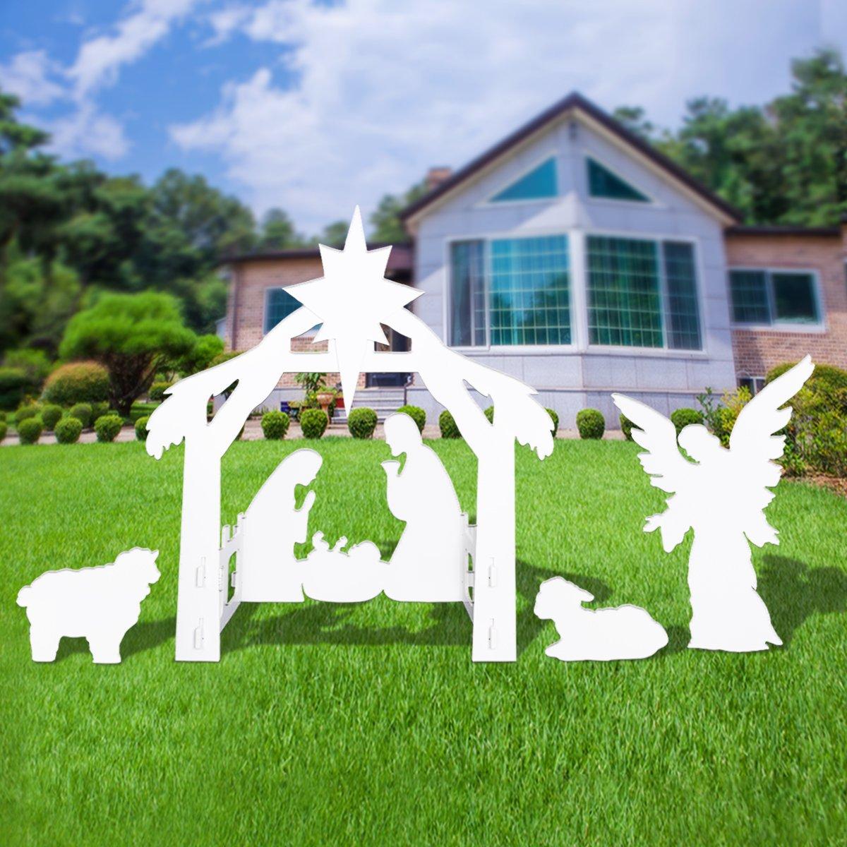 Outdoor Nativity Set - Full Yard Nativity Scene with Holy Family and Angle by BESTOMZ