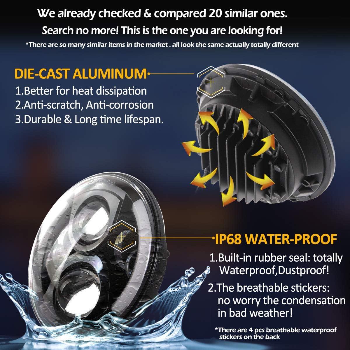 7 Inch LED Headlight DOT DRL Light Halo Bulb for Electra Glide Street Glide Fat Boy Road King Heritage Softail Switchback Headlamp Black