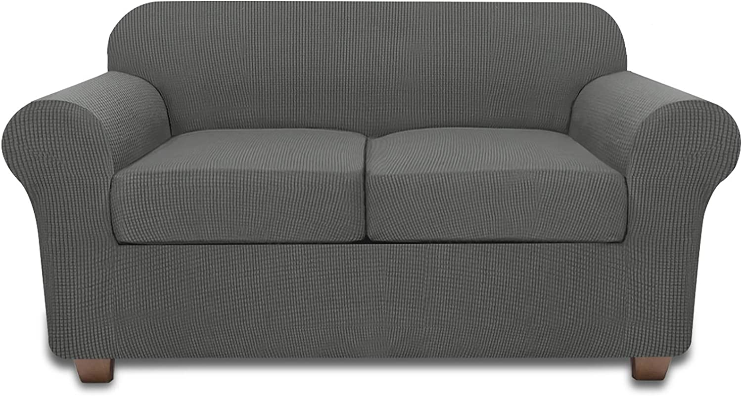 Sofa Loveseat Covers for 2 Cushion Couch Cover 3 Piece Loveseat Slipcover (Dark Gray)