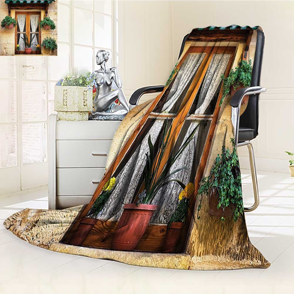 YOYI-HOME Digital Printing Duplex Printed Blanket Flowers at Historic Building Window with Classic Lace Curtain Inside Image Beige Green Summer Quilt Comforter /W69 x H47