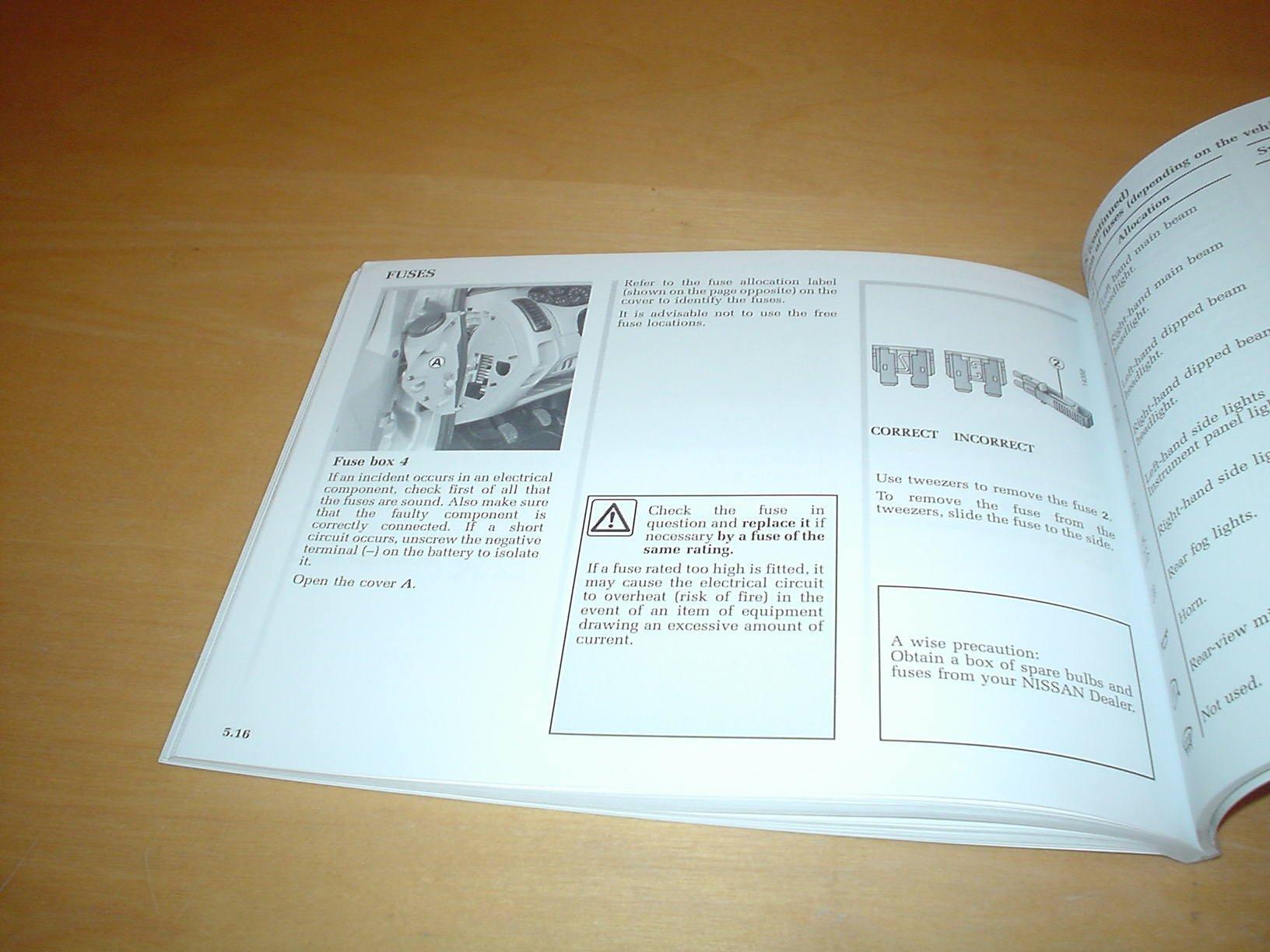Nissan Primastar Owners Manual Handbook Prima Star Van Combi Minibus Fuse Box 20 Litre Petrol Engine 19 Dci Diesel Hand Book