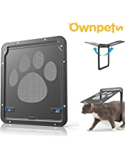 """OWNPETS Pet Screen Door, Magnetic Flap Screen Automatic Lockable Black Door for Small Dog and Cat Gate 11.31"""" x 9.36"""",Easy to Install (Small 11.4x9.4x0.4 inch)"""