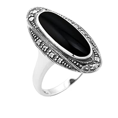 Esse Marcasite Sterling Silver Oval Black Onyx and Marcasite Art Deco Dress Ring SjuvkaTn