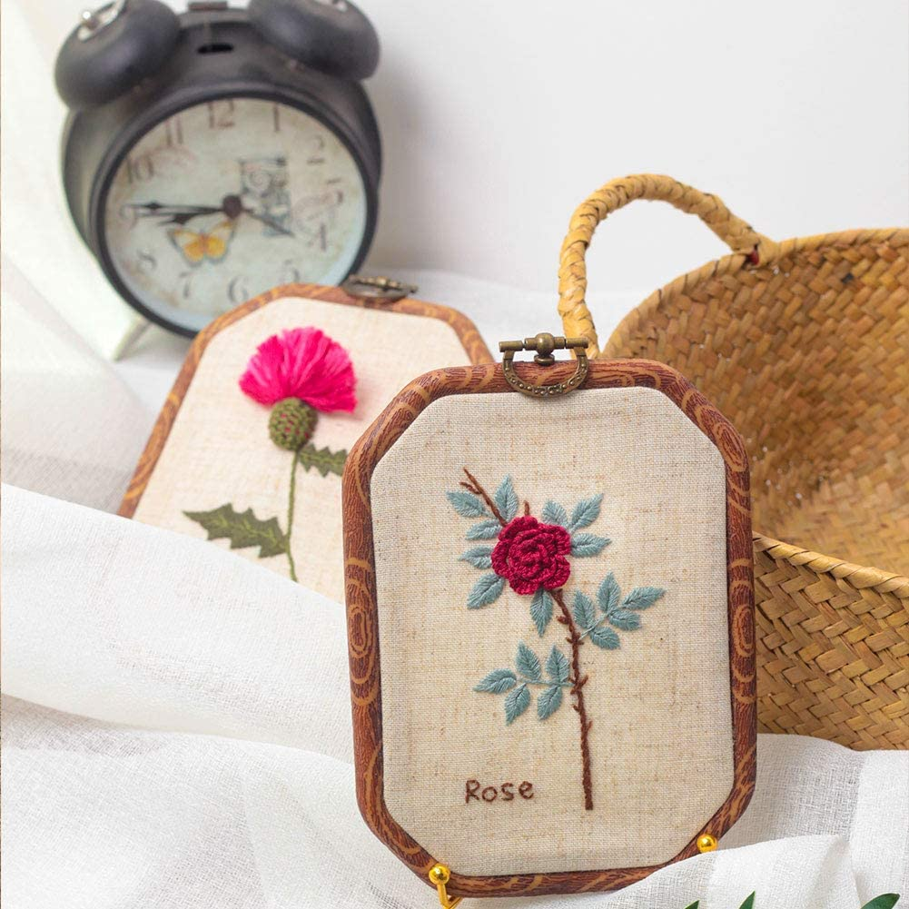 Akacraft Chinese FlowersPick Series Embroidery Starter Kit and Needles Canvas Cloth with Color Pattern Calendula Color Threads Imitated Wood Rubber Embroidery Hoop