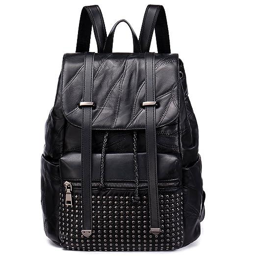 b87ddac574 NAWO Women s Genuine Leather Backpack Purse Fashion Casual Daypack School Rivet  Bag for Woman