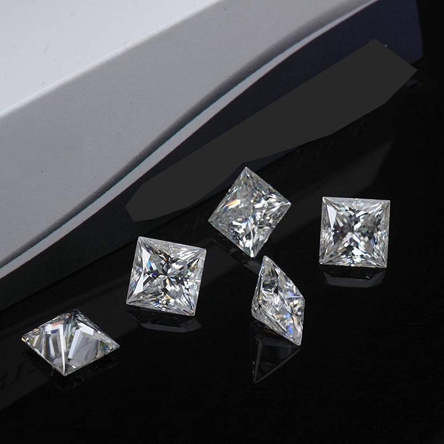 8.25MM VVS1 Clarity Princess Cut Brilliant Gemstone for Making Vintege Ring Earrings Jewelry Necklaces Real Colorless Diamond Pendant JEWELERYIUM Loose Moissanite 3.00CT Watches