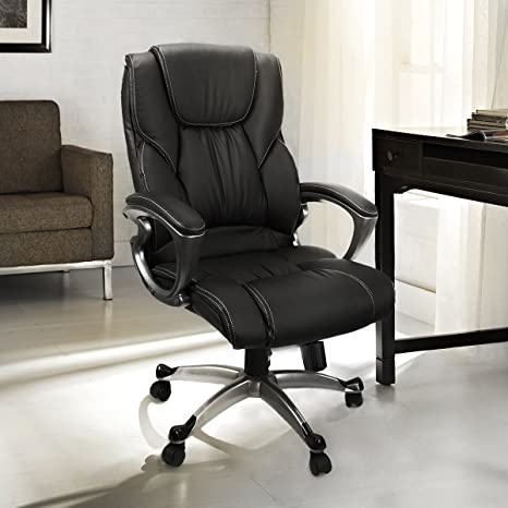 Tremendous Barton Executive Office Chair With Padded Armrest Faux Leather Soft Back Support High Back Computer Desk Chair Black Theyellowbook Wood Chair Design Ideas Theyellowbookinfo