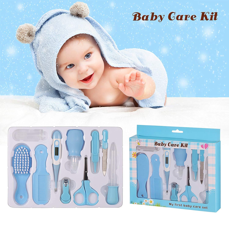 Babypflege Set,10-teiliges Baby Gesundheitsset mit Digital-Thermometer Nasensauger Pipette Feeder, Kit mit Nagel- und Haarpflegeset, Babypflegeartikels mit Fingerzahnbü rste und Nasenpinzette Marysa