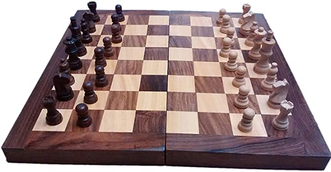treasure land Handmade Wooden Chess Box with Chessmen / Chess Pieces Large