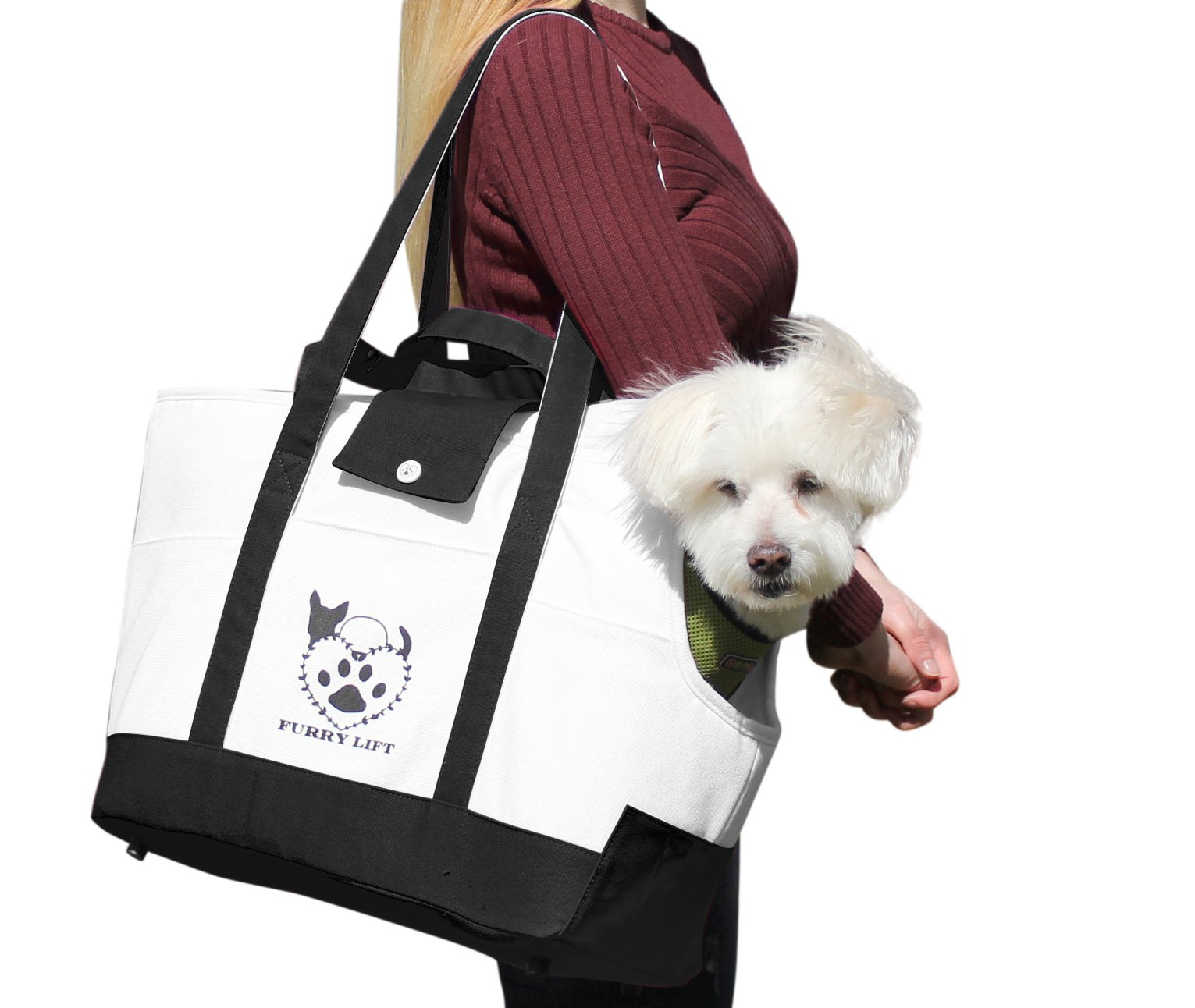 Furry Lift Pet Carrier Purse for Dogs or Cats, 8 Inner and Outer Pockets for Phone and Supplies, Safety Flaps, Up to 15lbs, Sherpa Insert, Perfect for Subway, Car, and Bus Travel (Black and White)