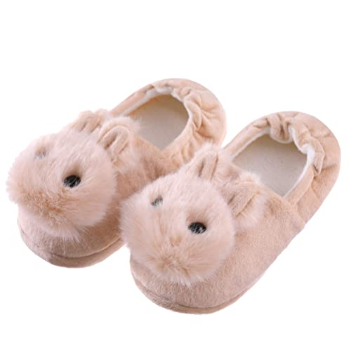 20f0137a8b FANZERO Toddler Girls Rabbit Slippers Soft Plush Warm Cute Animal Non-Slip  Winter House Shoes