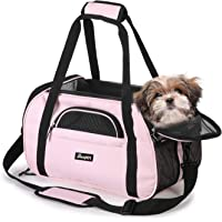 "Soft Sided Pet Carrier Comfort 17"" for Airline Travel, Portable Dog Tote Bag for Small Animals, Cats, Kitten, Puppy, Pink"