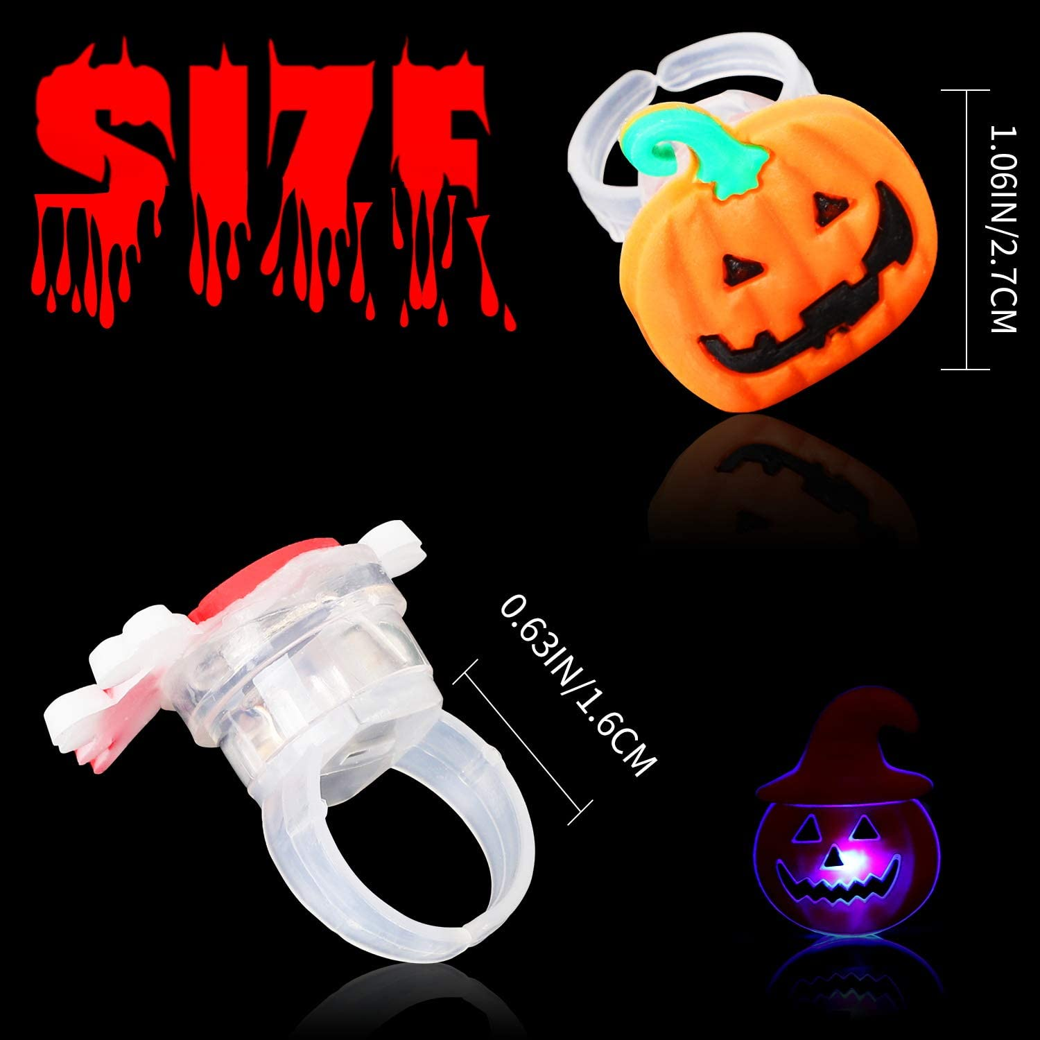 Biulotter 50 Packs Halloween LED Light Up Rings Halloween Glow in The Dark Party Supplies Halloween Decoration Soft Toy Rubber Treat Bag Fillers for Kids and Adults Gifts