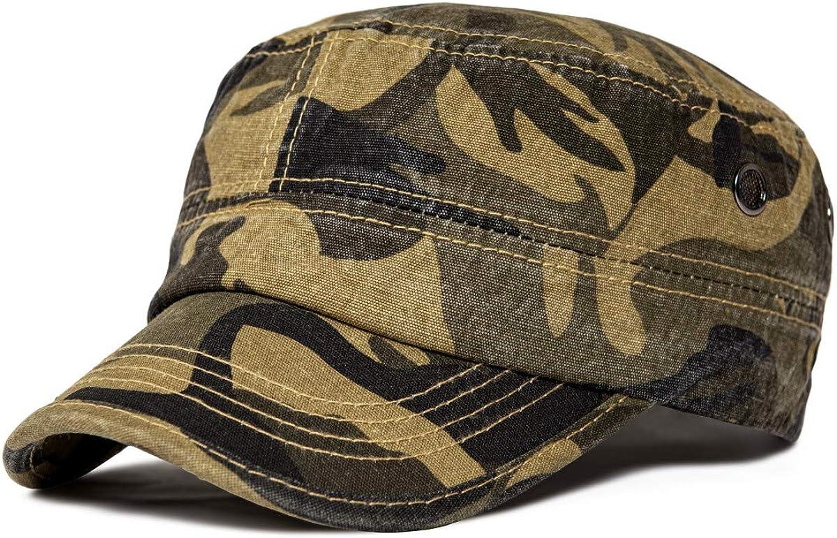 VOBOOM algodón lavado gorras militares singular tapón Ejército Cadet plana tapa superior de la vendimia Diseño para los hombres Adjustalbe size: 57-60cm(7 1/8-7 1/2) camuflaje de Brown: Amazon.es: Ropa y accesorios