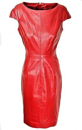 b183b75adfd Be Noble Maxima - Lederkleid aus ECHT-Leder elegant in Knielang in  dunkelrot (S