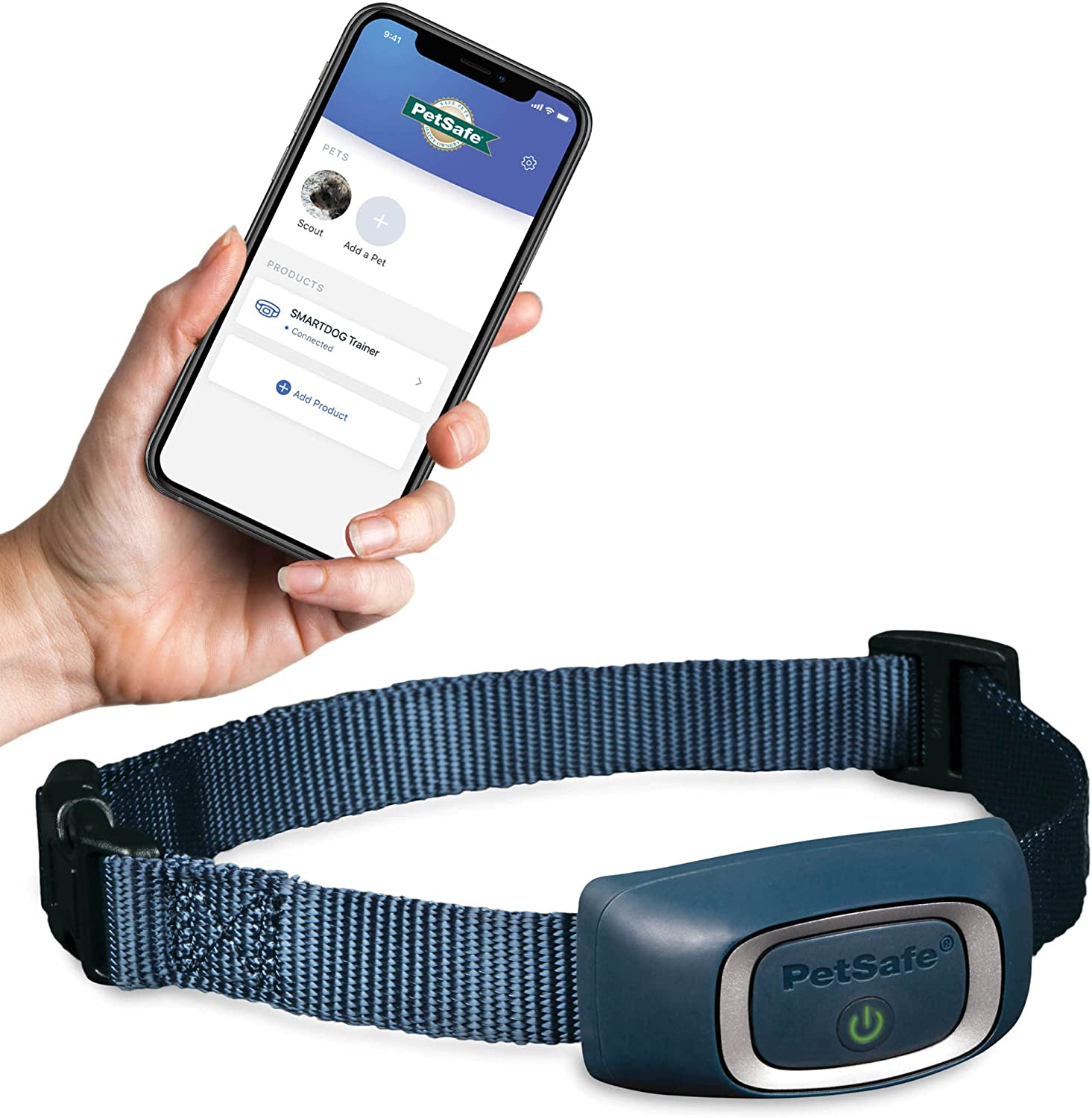 PetSafe SMART DOG Training Collar – Uses Smartphone as Handheld Remote Control – Tone, Vibration, 1-15 Levels of Static Stimulation – Bluetooth Wireless System – All in One Pet Training Solution