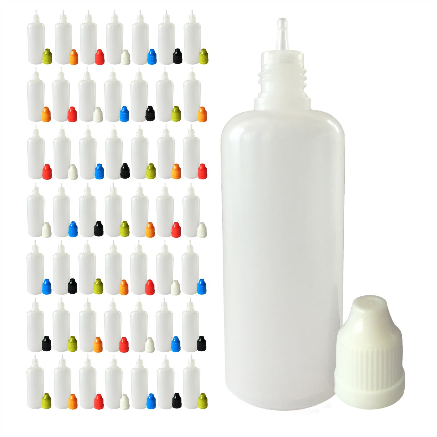 510 Centralドロッパーボトル 60mL 低密度ポリエチレン樹脂 細い先端 50 Pack LTTBottle60mL50Multi B01M2BCNJZ 50 Pack|Multi Color Caps Multi Color Caps 50 Pack