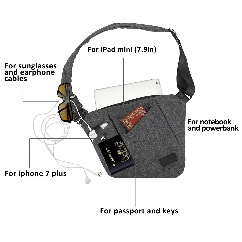 Sling Bag, Spanla Shoulder Crossbody Chest Bag Slim Backpack Waterproof Multipurpose Daypacks Lightweight Hiking Daypack for Men & Women (Gray)