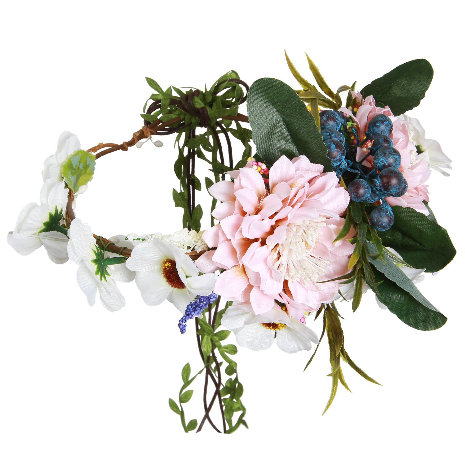 Valdler Aesthete Chrysanthemum Flower Crown Headband Halo for Wedding Festivals Light Pink