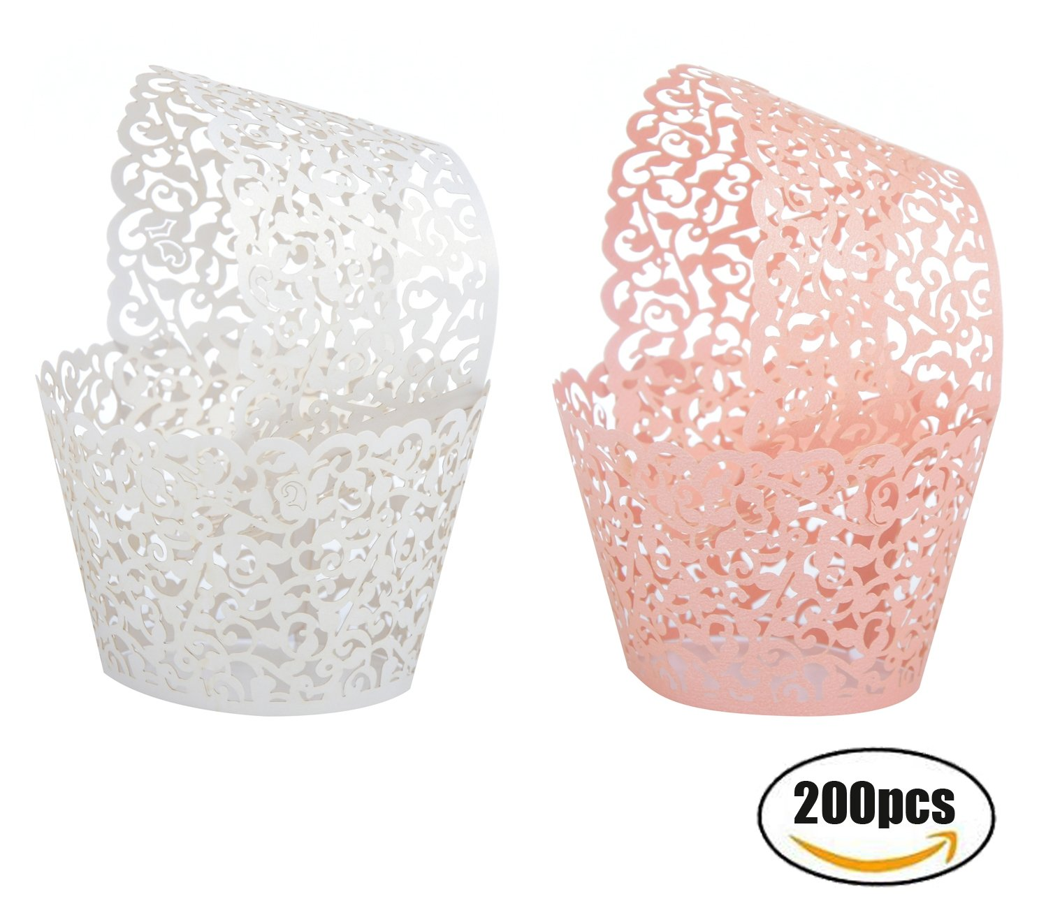 Seamersey 200pcs 2 Colors Cupcake Wrappers Filigree Artistic Bake Cake Paper Cups Little Vine Lace Laser Cut Liner Baking Cup Muffin Holders Case Trays for Wedding Party Birthday Decoration by Seamersey
