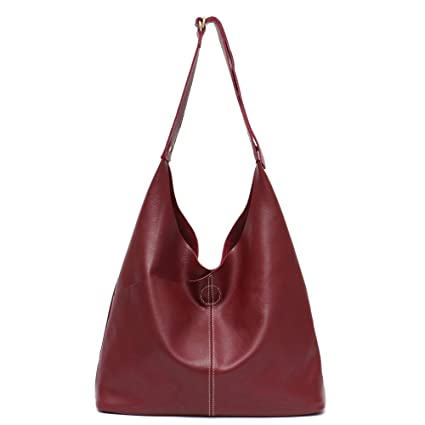 d69831d2d2b8 Genuine Leather Women's Shoulder Bag STEPHIECATH Large Casual Soft Real  Leather Skin Tote Vintage Snap Basket Carry Bag (WINE RED)