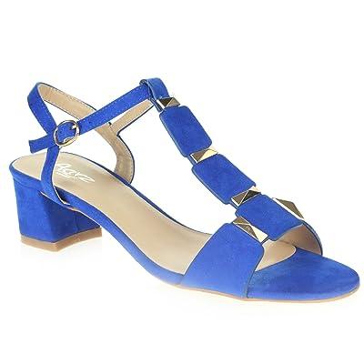 AARZ LONDON Femmes Dames Soir Open Toe Été Décontractée Fête Confort Moyen Bloquer le Talon des Sandales Chaussures Taille