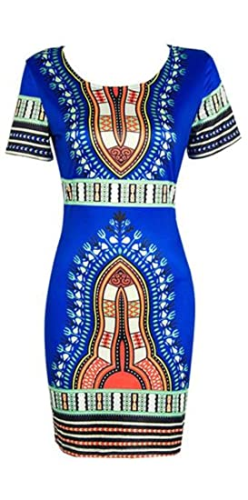 df174890593 FORUU Women Traditional African Print Dashiki Bodycon Sexy Short Sleeve  Dress (S