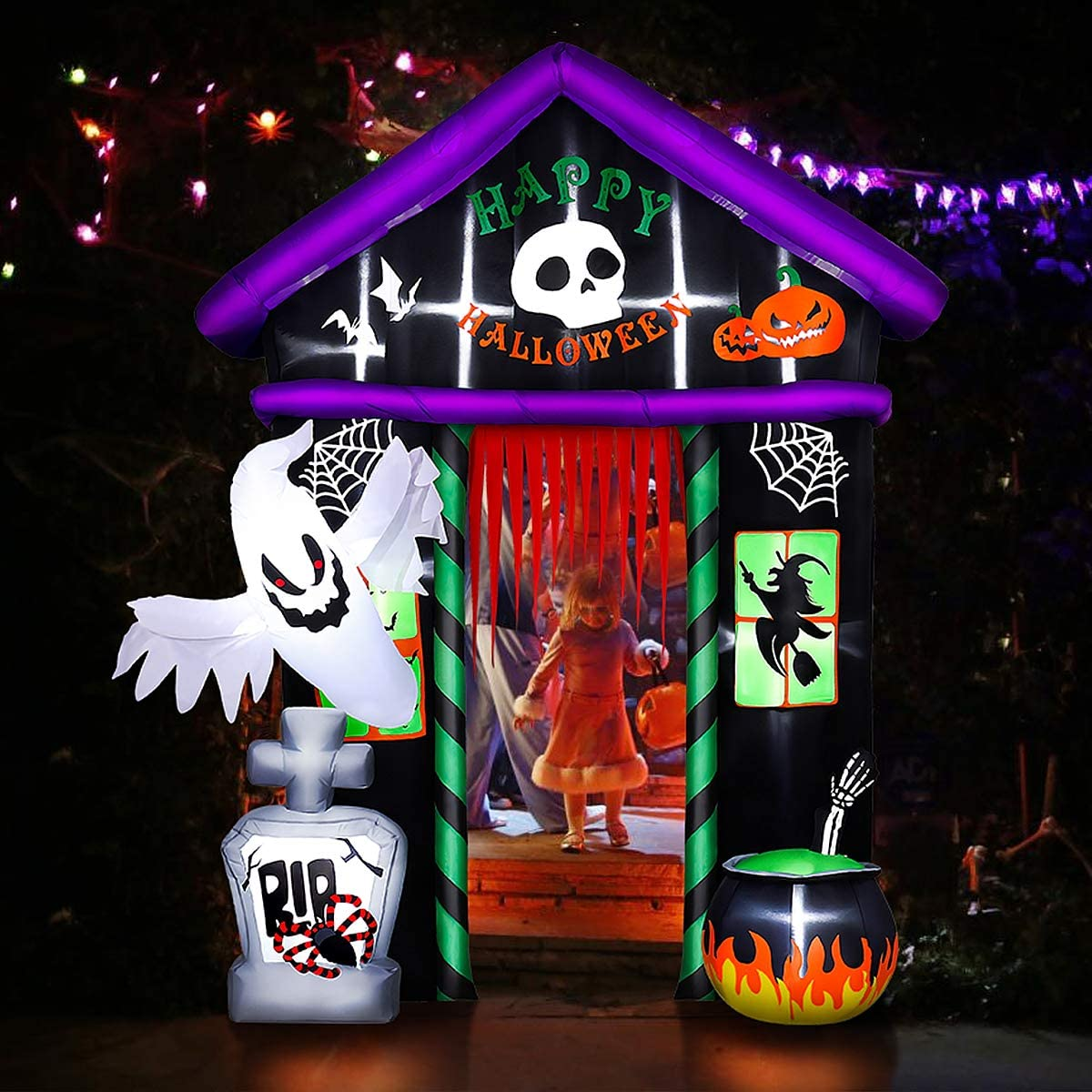 Inflatable Decoration For Holiday Party, 9 FT Tall Halloween Inflatable Haunted House Blow Up Lighted Decor