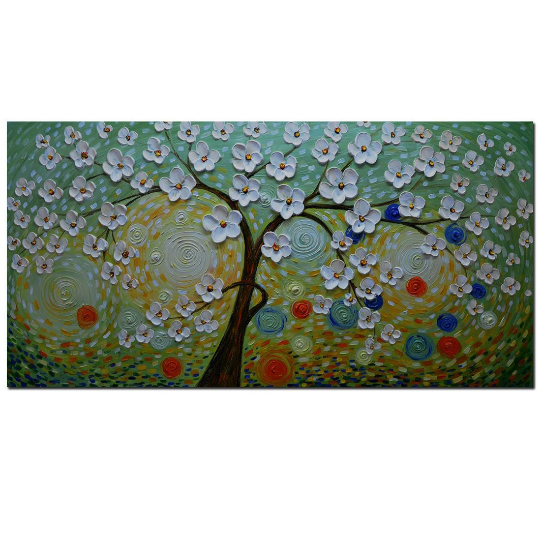 Asdam Art 100% Hand Painted 3D Paintings Green Abstract Artwork for Wall Decor Handade Oil Paintings on Canvas Ready to Hang Modern Home Decorations Tree Wall Art for living Room(20X40 inch)