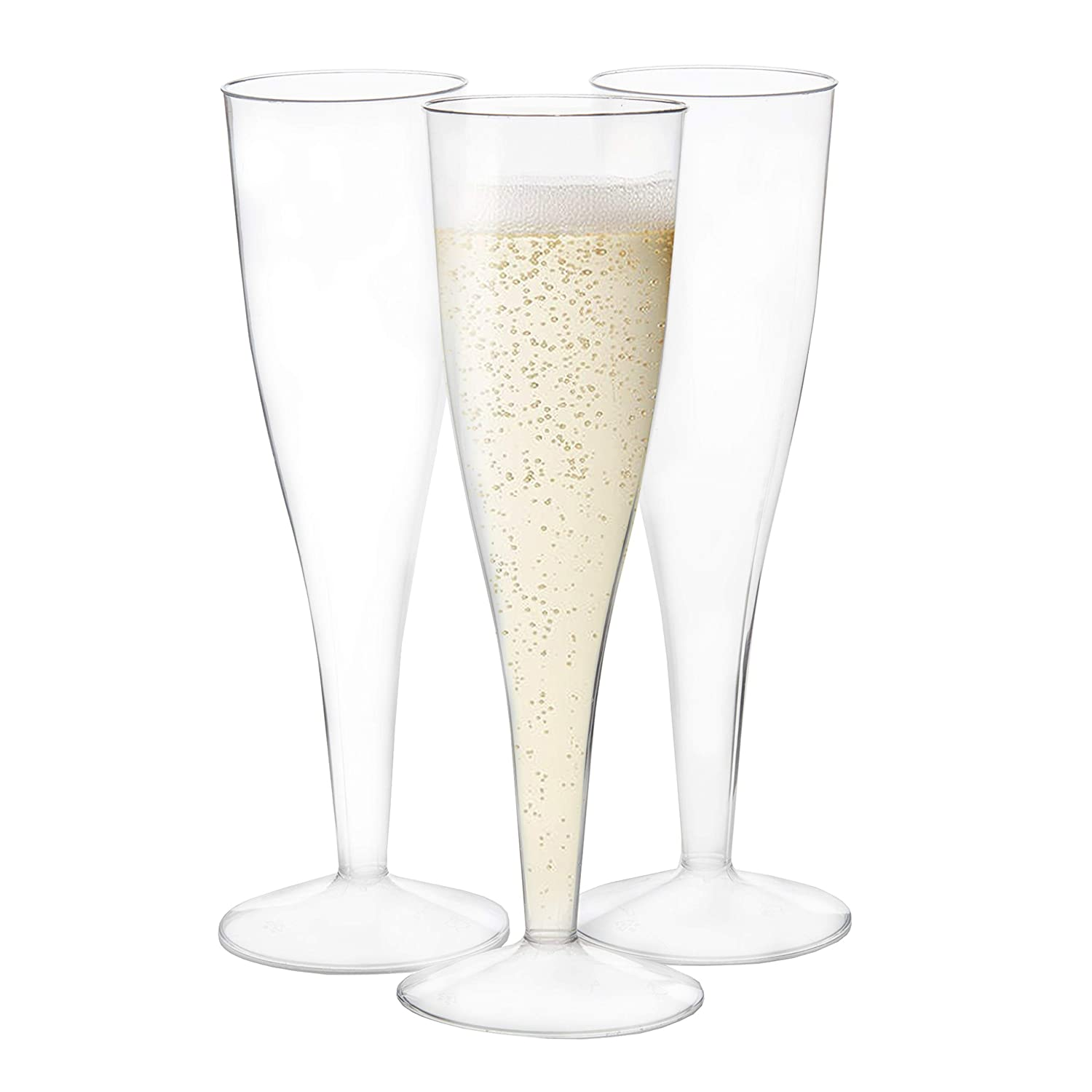 120 Premium Plastic Champagne Flutes Bulk One Piece Champagne Glasses For Wedding Or Party
