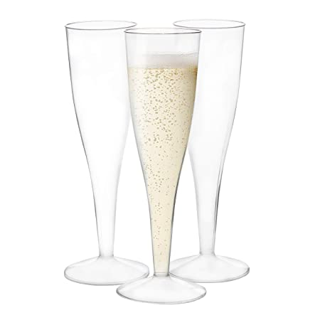 120 Premium Plastic Champagne Flutes – Bulk One Piece Champagne Glasses for Wedding or Party
