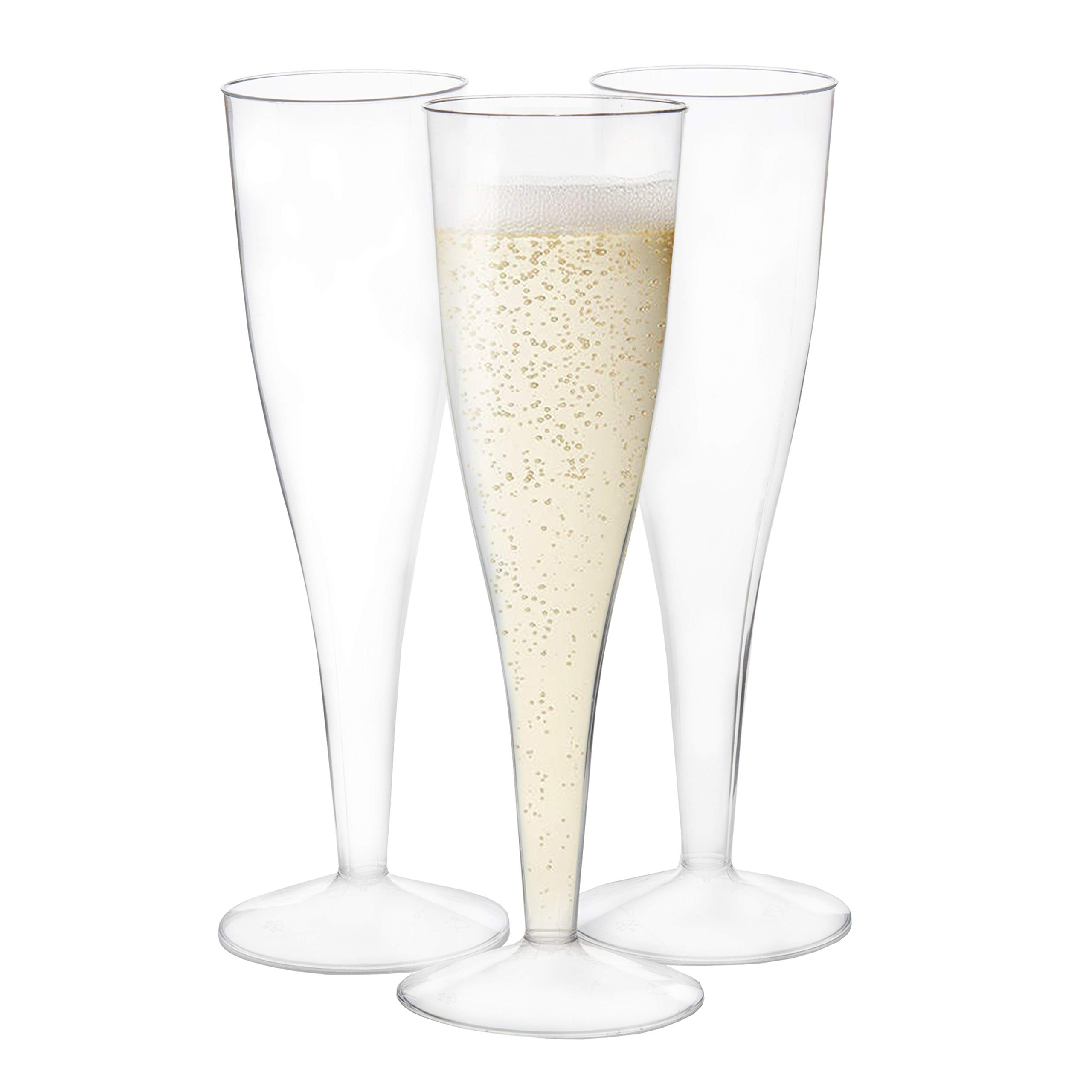 120 Premium Plastic Champagne Flutes - Bulk One Piece Champagne Glasses for Wedding, Party, Toasting, Mimosa or Cocktails