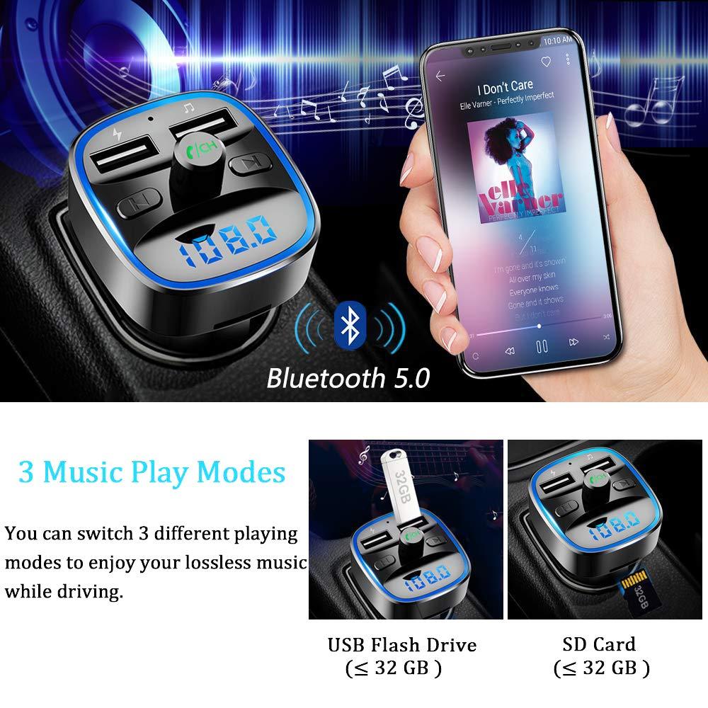 Bluetooth 5.0 Mp3 Reproductor de m/úsica sin p/érdida SHENGY Transmisor FM para Coche Kit de Encendedor de Cigarrillos de 12V y 24V Cargador USB Dual Soporte U Disco Tarjeta SD