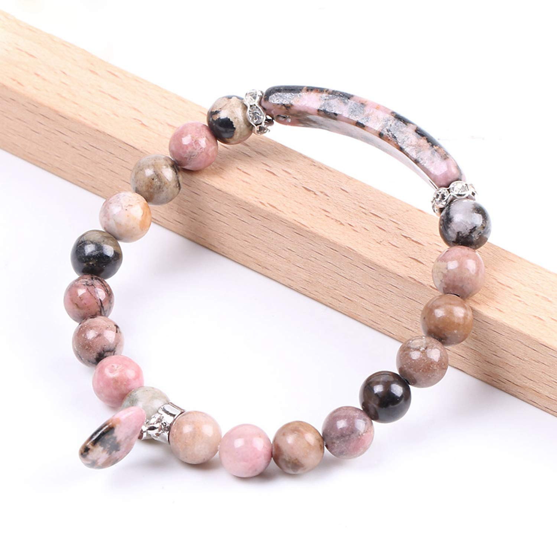 Stone Bangles Line Love Heart Fitting Beads Bracelets Rectangle Stones Jewelry