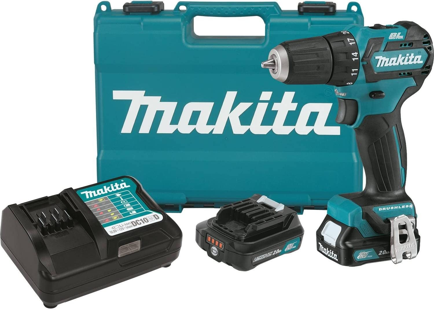 Makita FD07R1 12V MAX CXT Lithium-Ion Brushless Cordless Driver-Drill Kit, 3 8