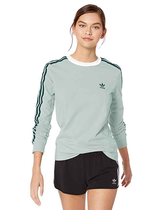 adidas Originals Women's 3-Stripes Long-Sleeve Tee, vapour green, Large