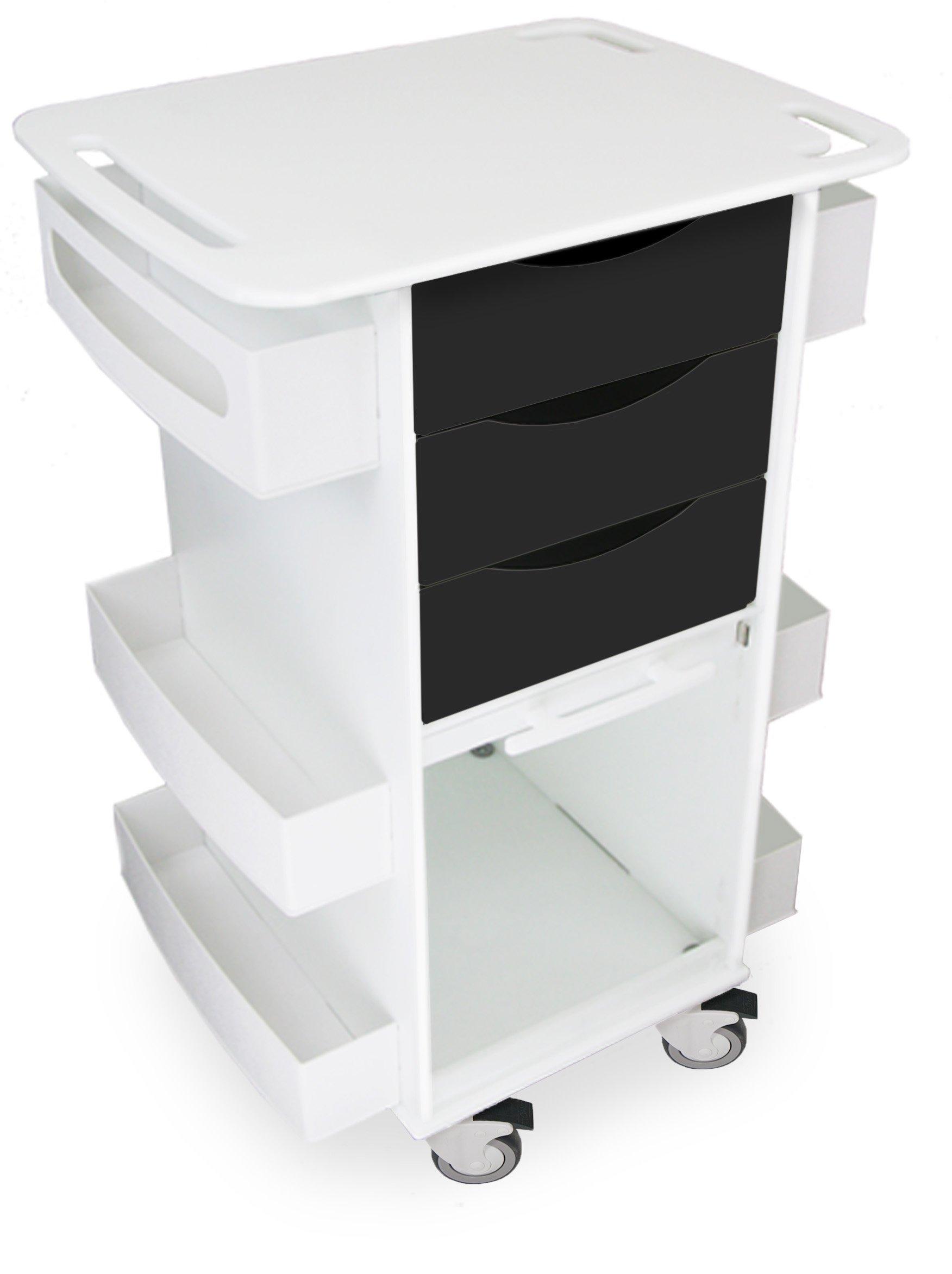 TrippNT 51369 Polyethylene/ABS Locking Core DX Multi-Tasking Storage Cart with Clear PETG Sliding Door, 23'' Width x 35'' Height x 19'' Depth, Black