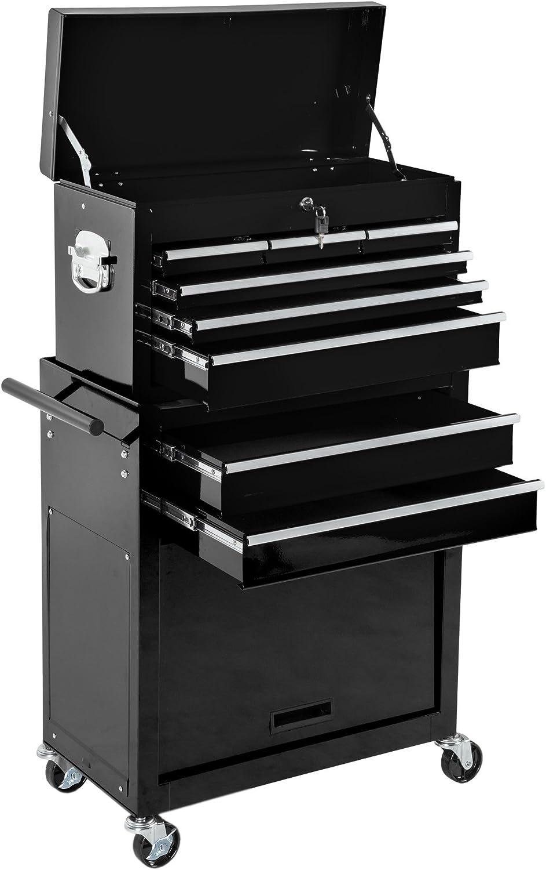 TecTake Carro de herramientas con ruedas | cajones amplios | Caja accesoria móvil | -disponible en diferentes colores- (Negro | No. 402803)