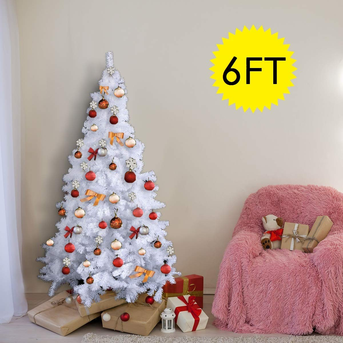 White Christmas Tree.Costway White Christmas Tree Xmas Traditional Indoor Artificial Decoration Tree 6ft 1 8m