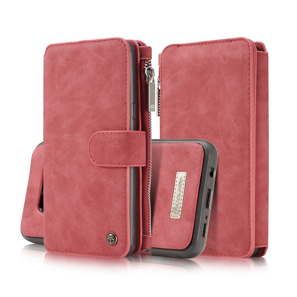 Samsung S8 Plus Case,Vacio Zipper Card Slots Money Pocket Clutch Cover Wallet Retro Vintage Stand Smart Wallet Credit Billfold Pouch Magnetic Phone Sleeve Case for Samsung S8 Plus-Pink