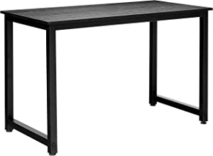 Halter Portable Simple Metal & Wood Desk| Easy Assembly | Multipurpose & Assembled Small Desk | Laptop Desk, Home/Office Desk, Bedroom & Living Room Desk | Urban & Modern Minimalist Style(Black-Black)